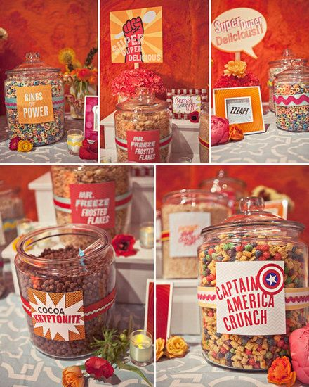 Superhero Cereal Bar: Amp up the playful appeal of your big day with a themed cereal bar  colorful, creative, and who wouldnt love