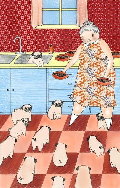 """This will be me someday. An old lady with a house of pugs, instead of the typical """"cat lady."""" My children will definitely worry"""
