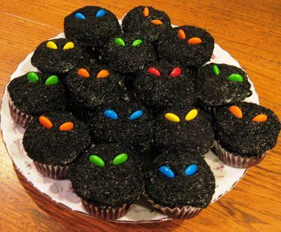 Scary cupcakes with m & m eyes. Cute!: