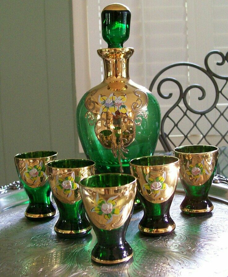 Decanter Mid Modern Green Century Sets