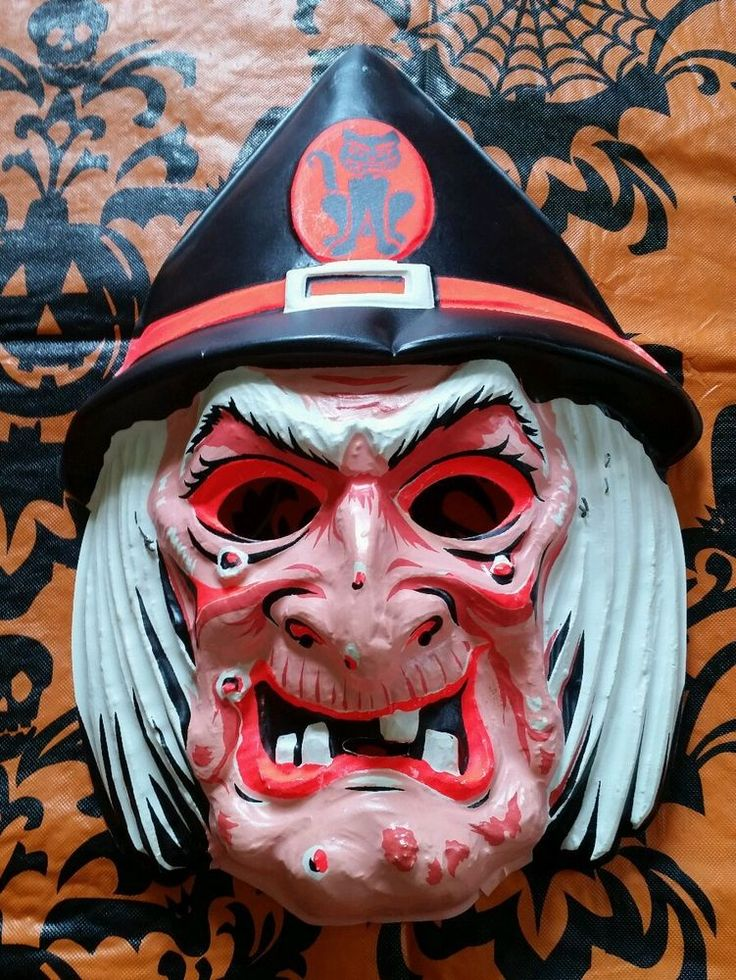 Vintage 1950's 1960's NOS Halloween plastic witch Mask
