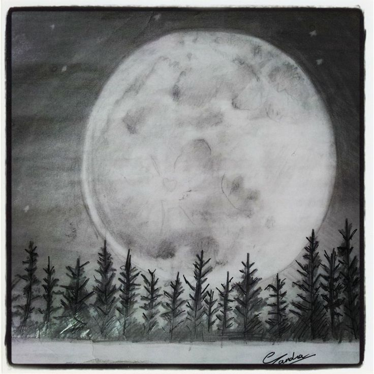 FULL MOON SKETCH ART With PENCILS Pinterest