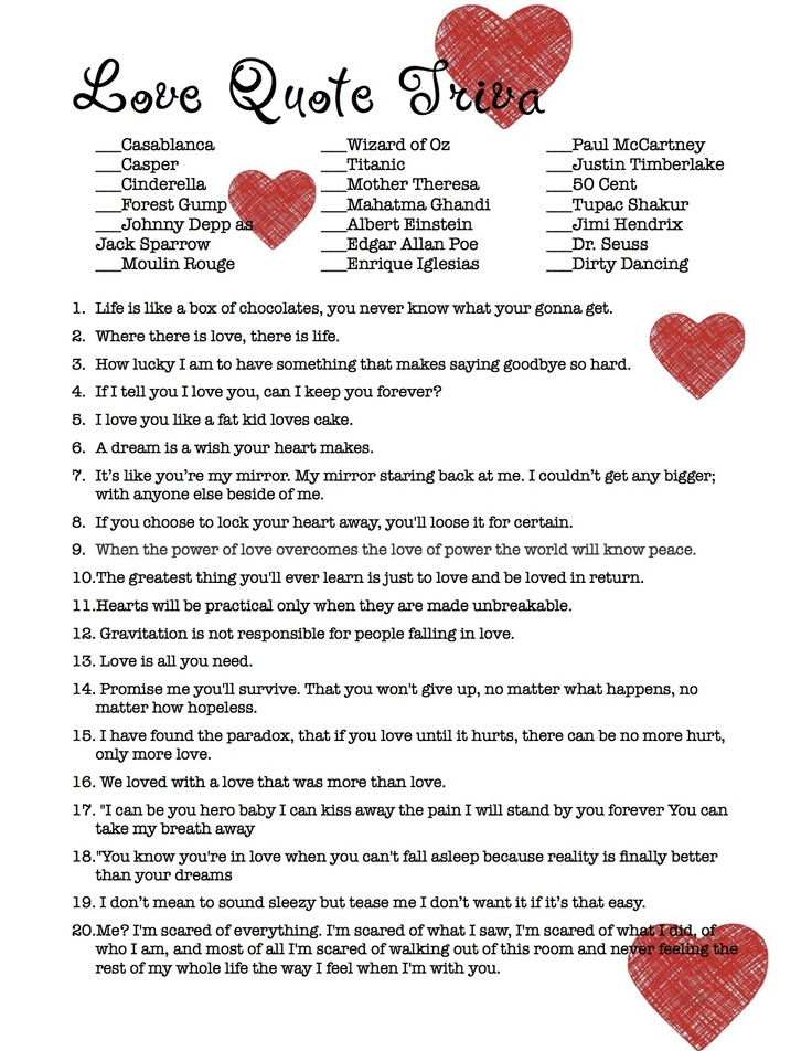 Love Quote Trivia Bridal Shower Game (Not your typical