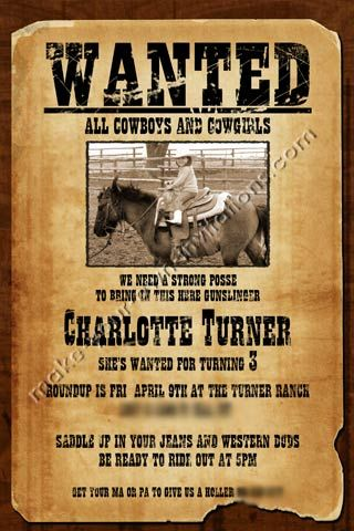 Free Printable Wanted Poster Invitations Invitations Kids Birthday Invitations Western