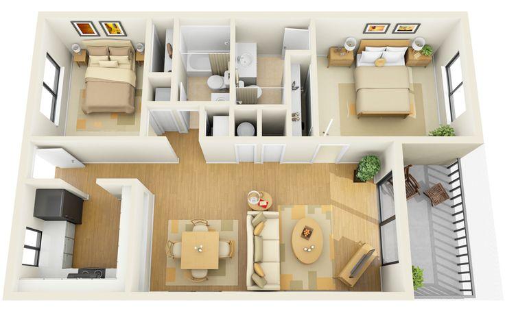 2 Bedroom 2 Bath Apartment