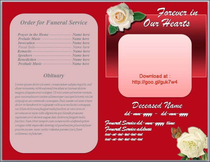 Free Funeral Program Obituary Template White Rose Red