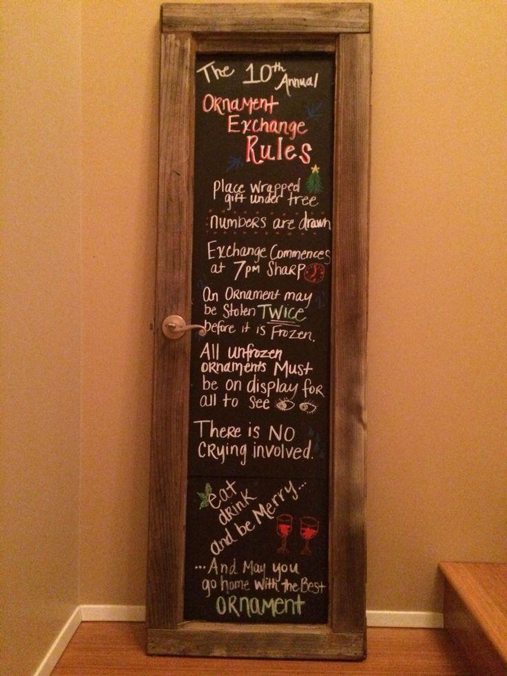 Christmas Ornament Exchange Rules Chalkboard Door