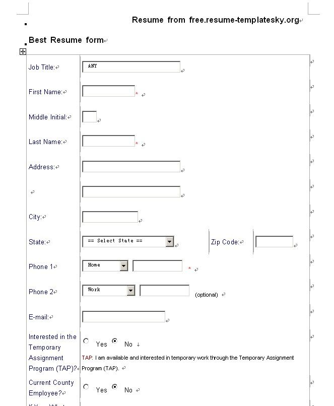 resume forms blank resume free resume template 13 blank template