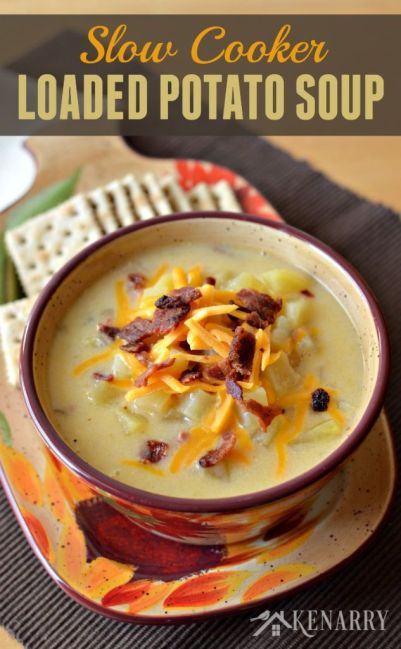Loaded Potato Soup in a Slow Cooker - a creamy comfort food loaded with ham, bacon, cheese and lots of potatoes. You can easily make this yummy soup in your crockpot or slow cooker.: