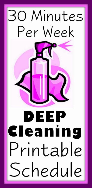 30 minutes per week house cleaning schedule. Maybe next years New Years resolution