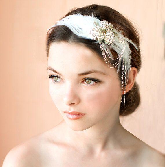 1920s Feather Headpiece Bridal Hairband Vintage Wedding