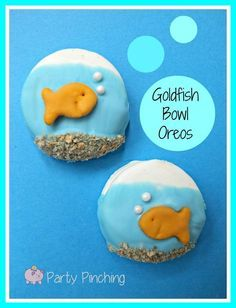 white chocolate covered oreos (graham goldfish or one of the sweet flavors)