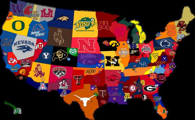 Cool College Football Map Ohio State Pinterest Logos