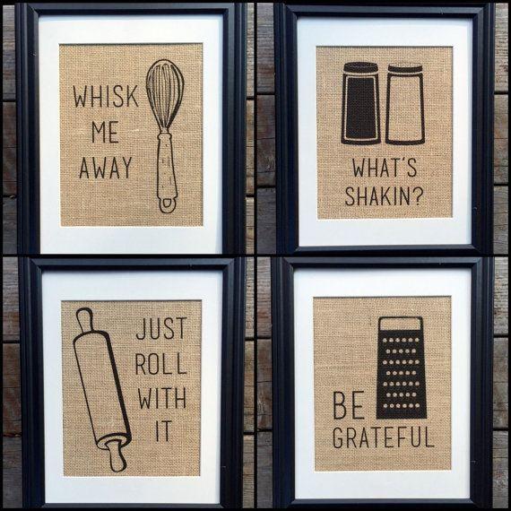 Choose Four Funny Kitchen Burlap Prints, Kitchen Print, Rustic Home Decor