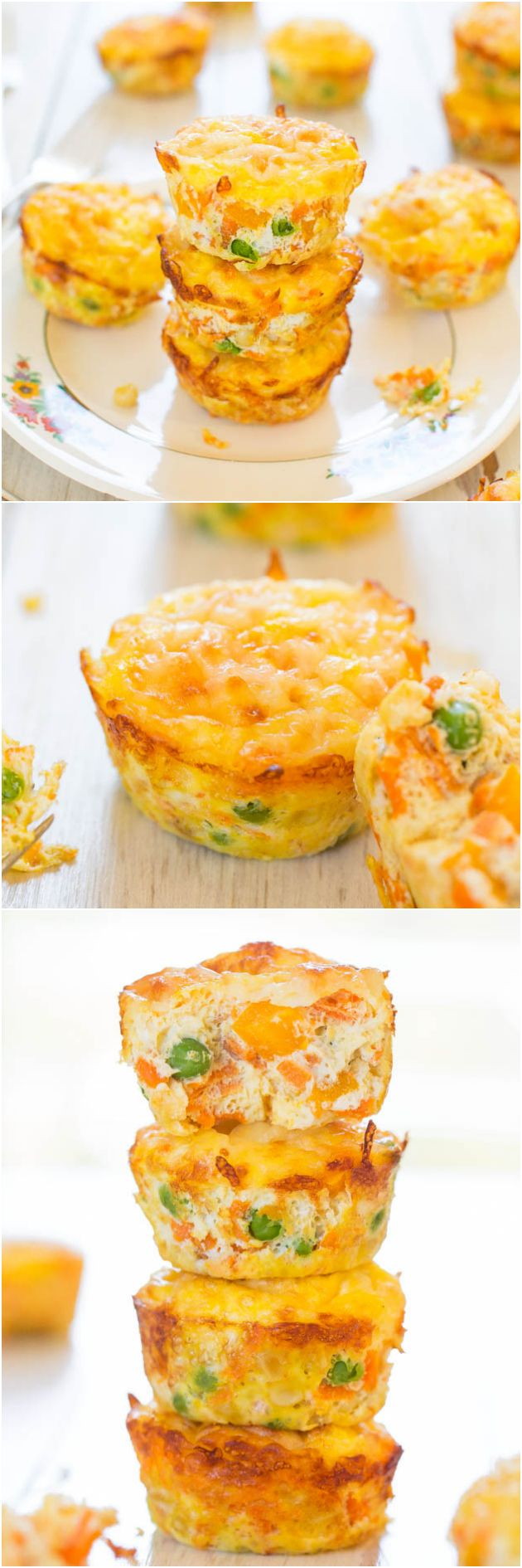 100-Calorie Cheese, Vegetable and Egg Muffins (GF) – Healthy, easy & only 100 calories! You'll want to keep a stash on hand!