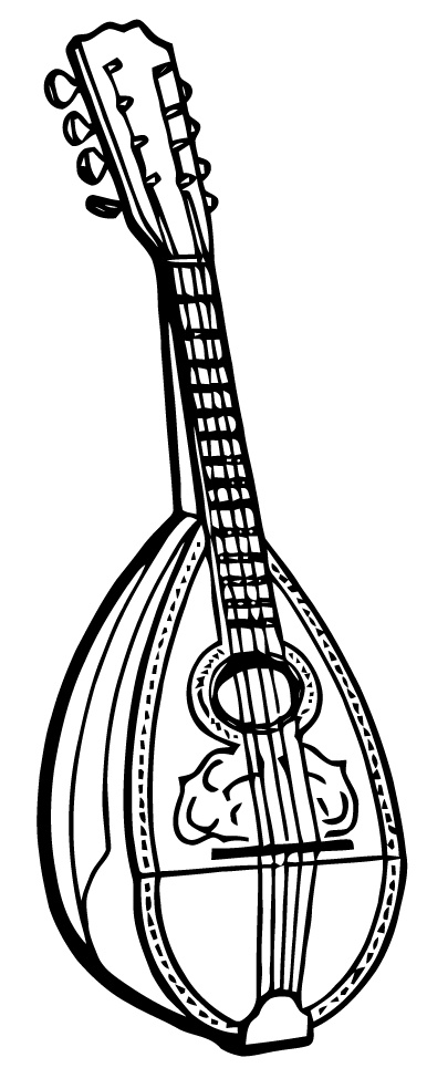 Free Vector Art Mandolin Vintage Black & White Clip Art