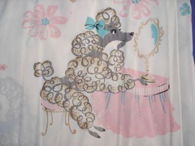 Adorable Vtg 50s Retro Plastic Shower Curtain POODLES Pampered Pink Blue Unused Poodles