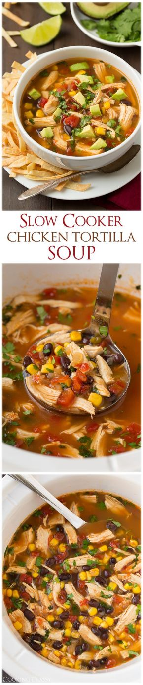 Slow Cooker Chicken Tortilla Soup - my whole family loved this! Adding it to our dinner rotation!: