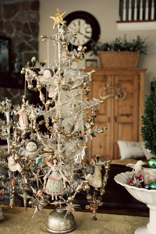 Angel Tree In Feather White Delicate Tree With Victorian