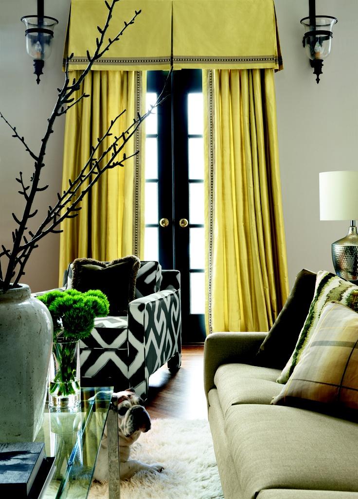 By Unique Fabrics Travers Colibri Yellow Silk Curtains