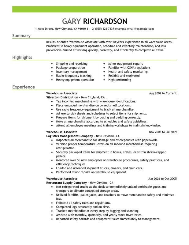 13 warehouse worker resume examples sample resumes warehouse