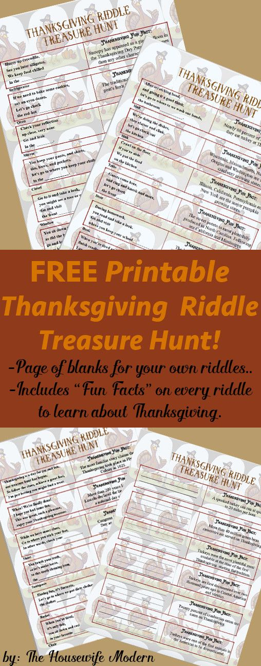 Free Printable Thanksgiving Riddle Treasure Hunt 18 Mix