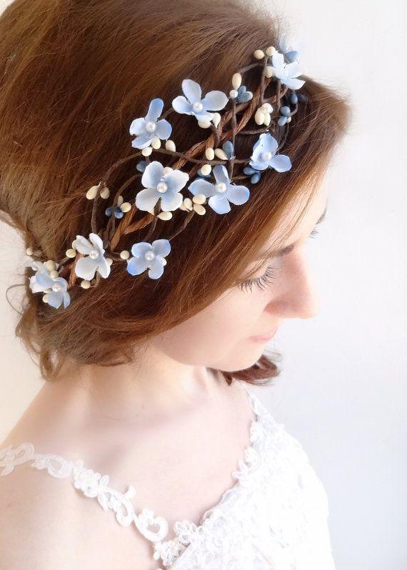 Light Blue Flower Crown Sky Blue Hairpiece Floral Crown