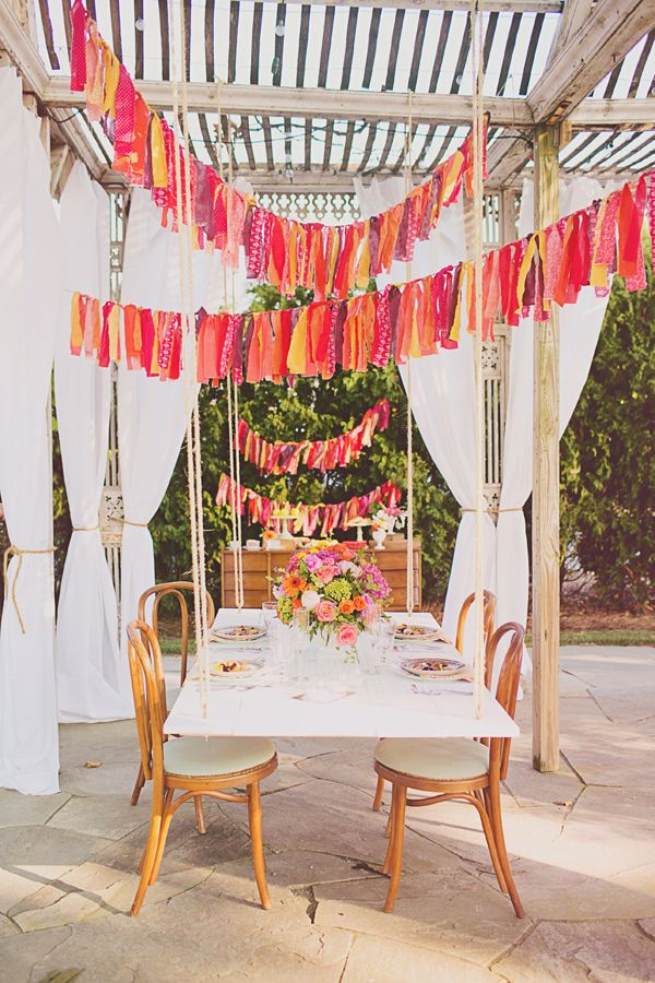 fabric strip garland… great party idea!