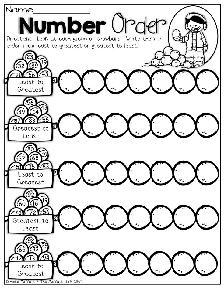 Number Order! Put the snowballs in order from least to