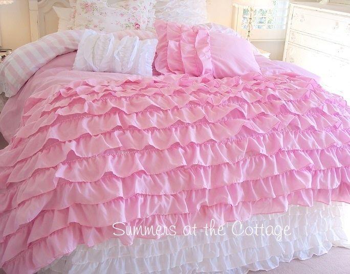 Twin Xl Dorm Room Bedding Dreamy Pink Ruffles Shabby Cottage Chic Comforter Set 5 Piece