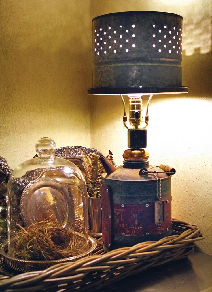 Gas Can Lamp With A Minnow Bucket Shade Things That Make