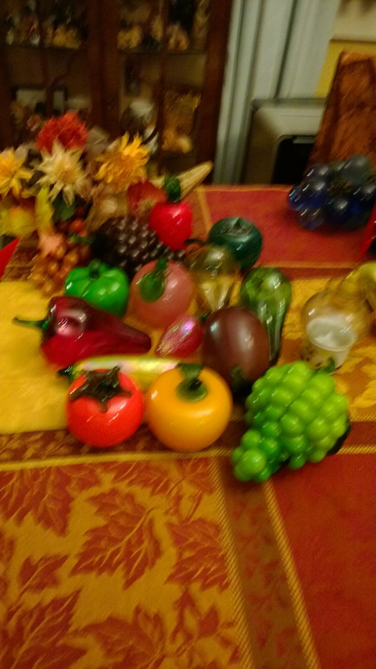 Glass fruit and vegetable conucopia Thanksgiving