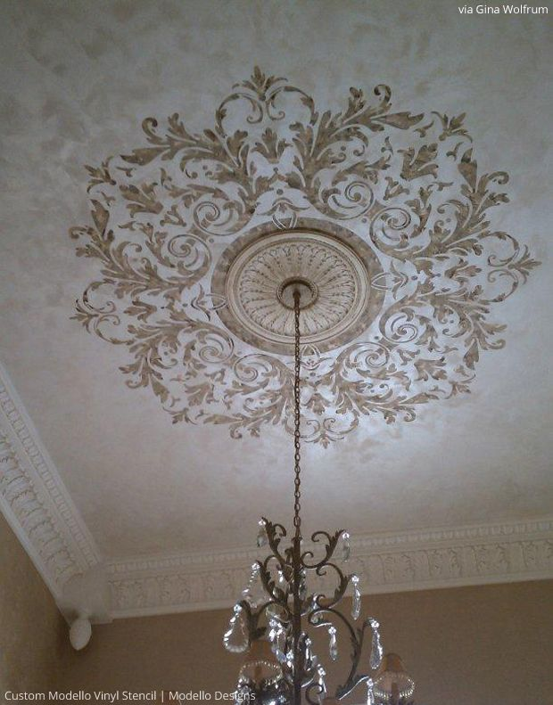 Stenciled Ceiling By Gina Wolfrum Using Custom Modello
