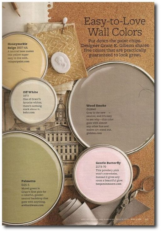 Better Home And Gardens Featured Paint Shades: