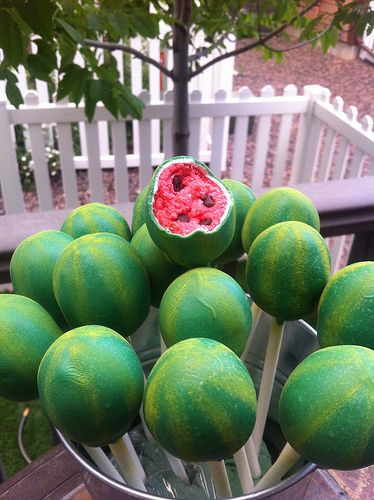 Watermelon Cake Pops – shape was just hand-formed. They are double dipped…white first (then dried) and then Wilton green melts.