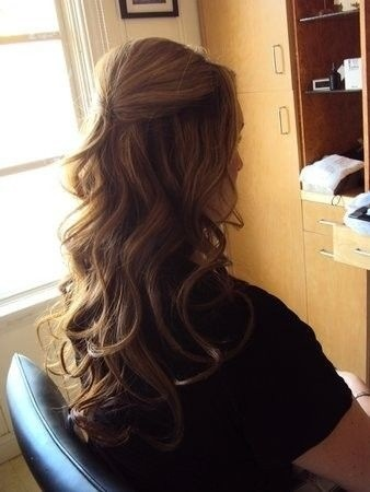 2nd idea really like this half up style very loose waves curls not sure if my hair is long