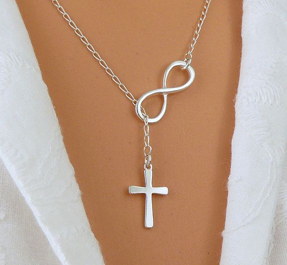 I LOVE THIS!!!  STERLING SILVER Infinity and Cross Necklace