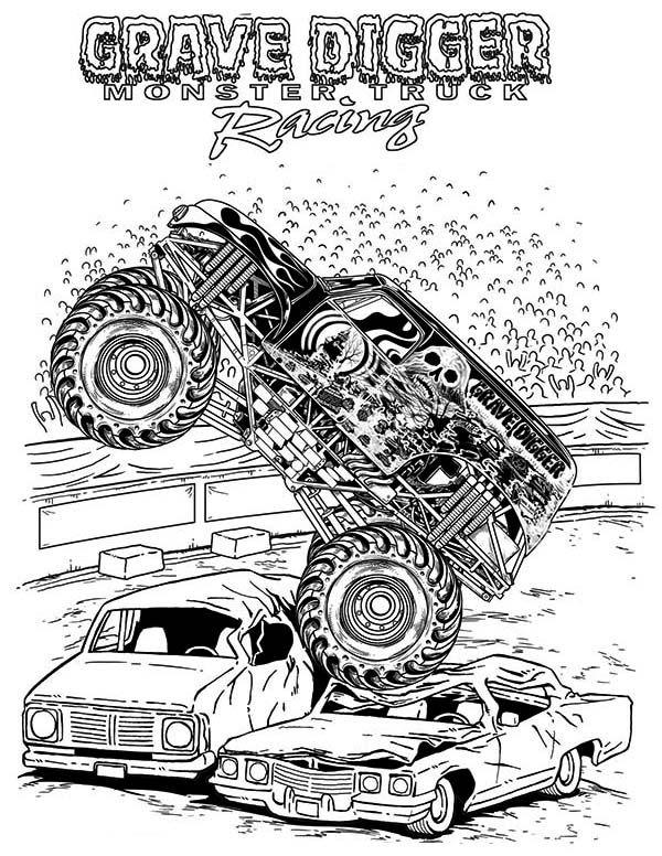 Monster Truck, Grave Digger Monster Truck Coloring Page
