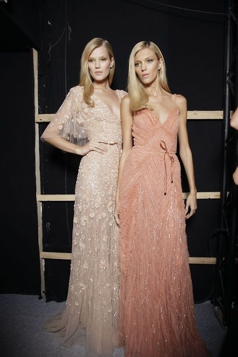 NAT LOOK AT THE PEACH COLOR…  Ah! Champagne and deep peach lacy dresses for th