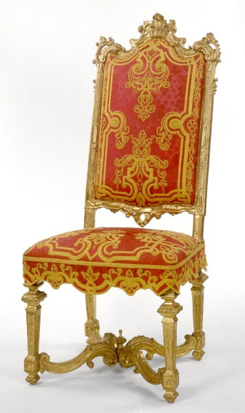 Louis XIV Carved Giltwood Side Chair, circa 1710.: