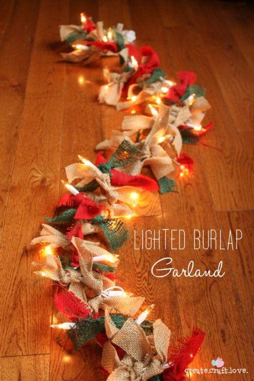 Lighted Burlap Garland | Create Craft Love: