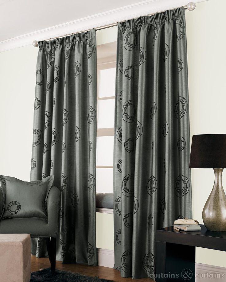 Silver Grey Black Faux Silk Lined Cheap Curtain Cheap