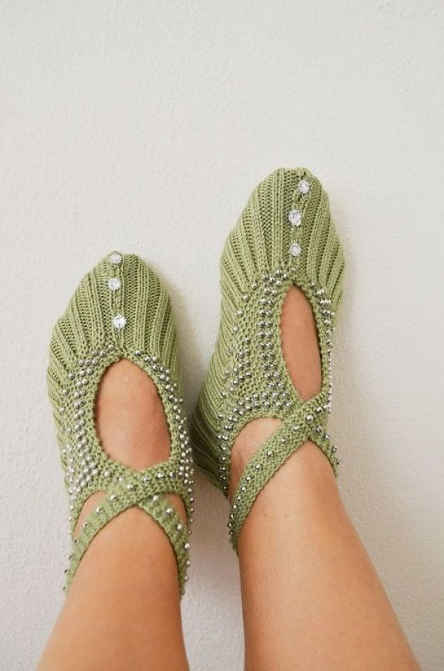 Green silver beaded  knit slippers authentic regional by NesrinArt, $26.99: