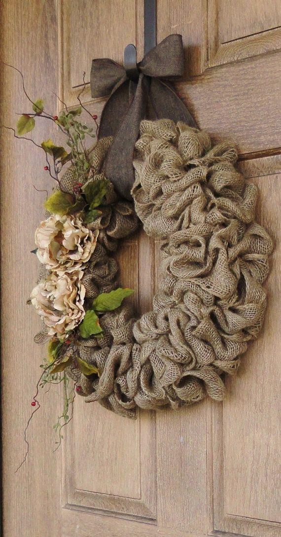 Burlap Wreath with Beige Pe