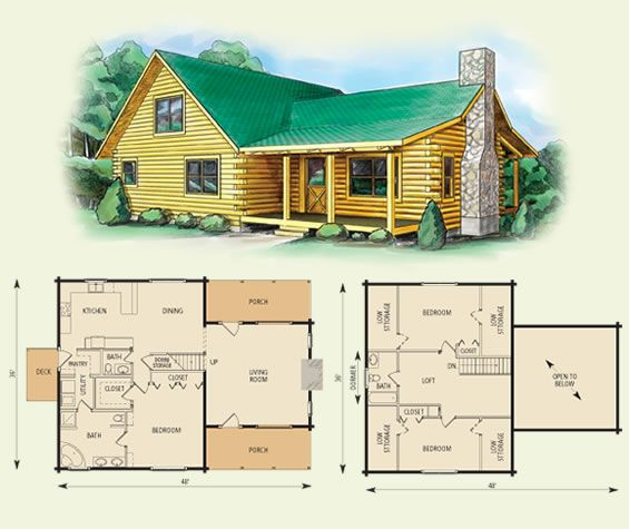 3 bedroom 2 bath log cabin floor plans for 4 bedroom log cabin kits