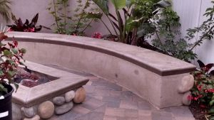 Fire Pit And Seat Wall Finished With Stucco, Faux Stone