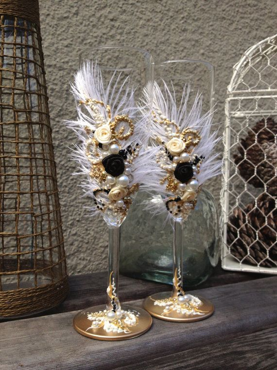 Great Gatsby Wedding Champagne Glasses With Ostrich