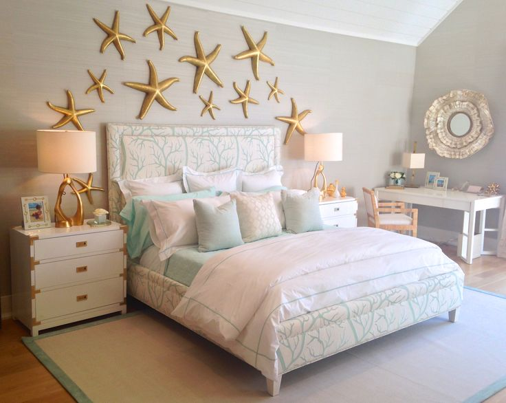 Under The Sea Themed Bedroom With A Coral Print