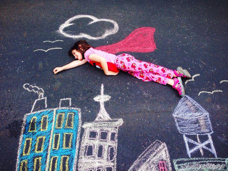 Superhero Sidewalk Chalk With Addison Chalk Art