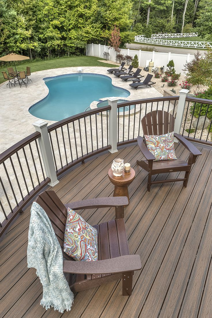 A pool is the perfect accessory for a Trex deck. deck